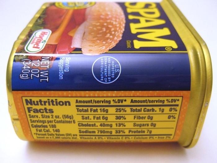 Spam keto friendly nutrition label