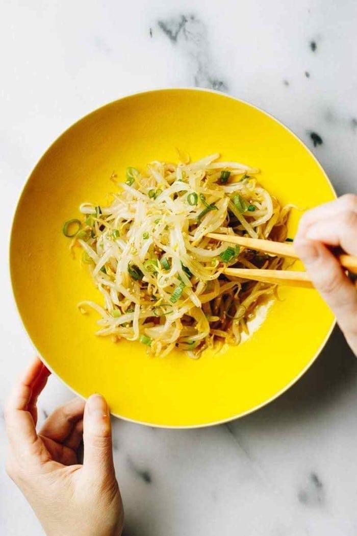 Keto friendly mung bean sprout salad