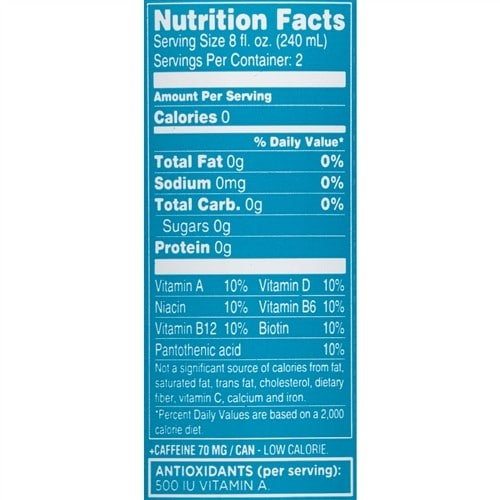 Sparkling ice keto nutrition label