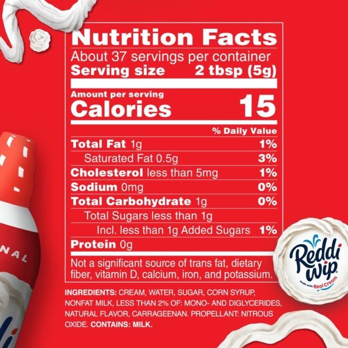 Reddi wip keto nutrition label