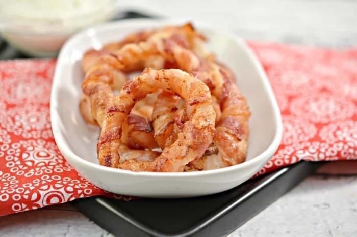 Keto friendly bacon wrapped onion rings