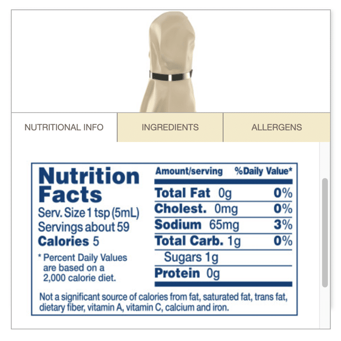 Lea and perrins worcestershire keto nutrition facts