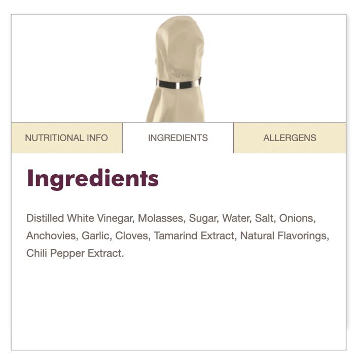 Lea and perrins worcestershire sauce ingredients