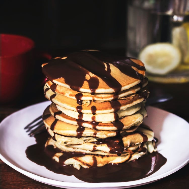 Sugar free chocolate drizzled keto pancakes